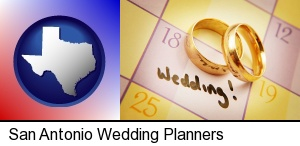 wedding day plans, with gold wedding rings in San Antonio, TX