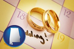 alabama map icon and wedding day plans, with gold wedding rings