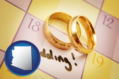 arizona map icon and wedding day plans, with gold wedding rings