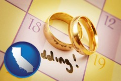 california map icon and wedding day plans, with gold wedding rings