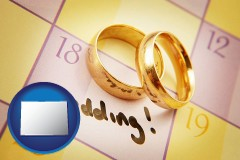 colorado map icon and wedding day plans, with gold wedding rings