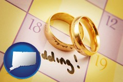 connecticut map icon and wedding day plans, with gold wedding rings