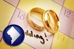 washington-dc map icon and wedding day plans, with gold wedding rings