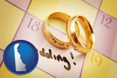 delaware map icon and wedding day plans, with gold wedding rings