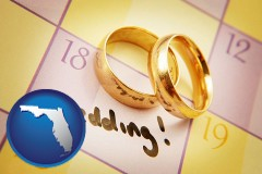 florida map icon and wedding day plans, with gold wedding rings
