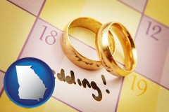 georgia map icon and wedding day plans, with gold wedding rings