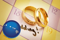 hawaii map icon and wedding day plans, with gold wedding rings