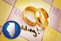 illinois map icon and wedding day plans, with gold wedding rings