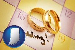 indiana map icon and wedding day plans, with gold wedding rings