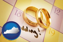 kentucky map icon and wedding day plans, with gold wedding rings