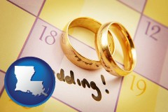louisiana map icon and wedding day plans, with gold wedding rings