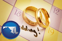 maryland map icon and wedding day plans, with gold wedding rings