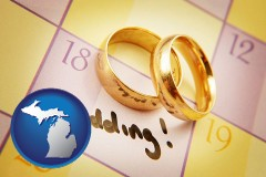 michigan map icon and wedding day plans, with gold wedding rings