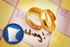 minnesota map icon and wedding day plans, with gold wedding rings