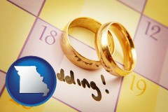 missouri map icon and wedding day plans, with gold wedding rings