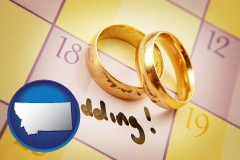 montana map icon and wedding day plans, with gold wedding rings