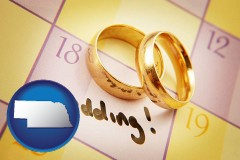 nebraska map icon and wedding day plans, with gold wedding rings