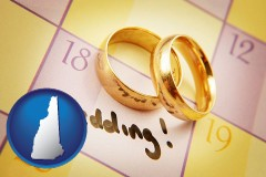 new-hampshire map icon and wedding day plans, with gold wedding rings
