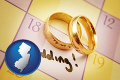 new-jersey map icon and wedding day plans, with gold wedding rings