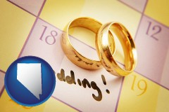 nevada map icon and wedding day plans, with gold wedding rings