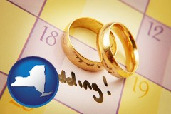new-york map icon and wedding day plans, with gold wedding rings