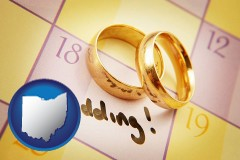 ohio map icon and wedding day plans, with gold wedding rings
