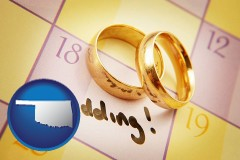 oklahoma map icon and wedding day plans, with gold wedding rings