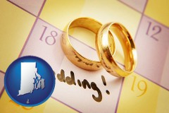 rhode-island map icon and wedding day plans, with gold wedding rings