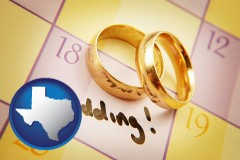 texas map icon and wedding day plans, with gold wedding rings