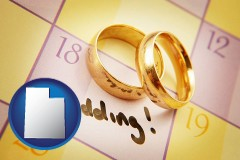 utah map icon and wedding day plans, with gold wedding rings