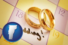 vermont map icon and wedding day plans, with gold wedding rings