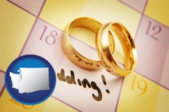 washington map icon and wedding day plans, with gold wedding rings