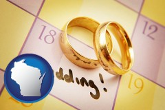 wisconsin map icon and wedding day plans, with gold wedding rings
