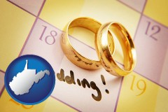 west-virginia map icon and wedding day plans, with gold wedding rings