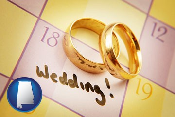 wedding day plans, with gold wedding rings - with Alabama icon