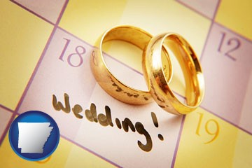 wedding day plans, with gold wedding rings - with Arkansas icon