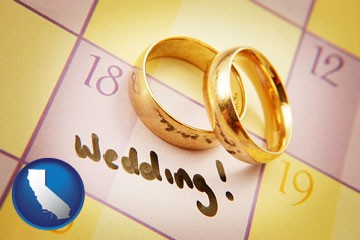 wedding day plans, with gold wedding rings - with California icon