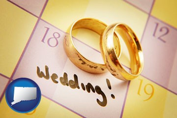 wedding day plans, with gold wedding rings - with Connecticut icon