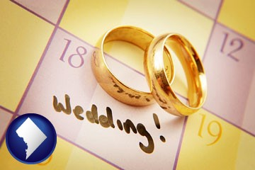 wedding day plans, with gold wedding rings - with Washington, DC icon