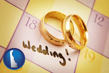 wedding day plans, with gold wedding rings - with Delaware icon