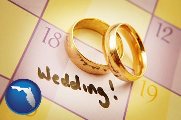 wedding day plans, with gold wedding rings - with Florida icon