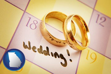 wedding day plans, with gold wedding rings - with Georgia icon