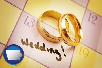 wedding day plans, with gold wedding rings - with Iowa icon