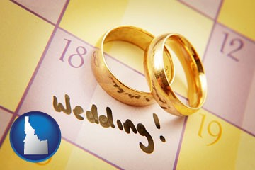 wedding day plans, with gold wedding rings - with Idaho icon