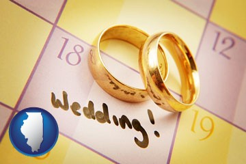 wedding day plans, with gold wedding rings - with Illinois icon
