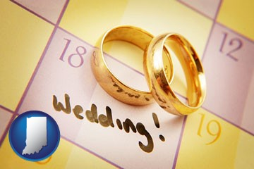 wedding day plans, with gold wedding rings - with Indiana icon