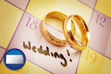 wedding day plans, with gold wedding rings - with Kansas icon