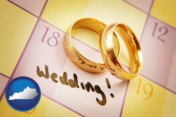 wedding day plans, with gold wedding rings - with Kentucky icon