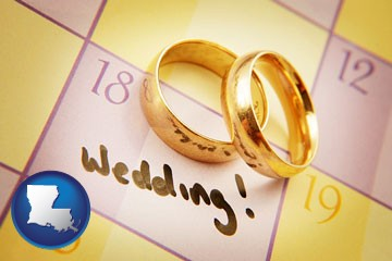 wedding day plans, with gold wedding rings - with Louisiana icon