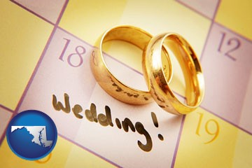 wedding day plans, with gold wedding rings - with Maryland icon